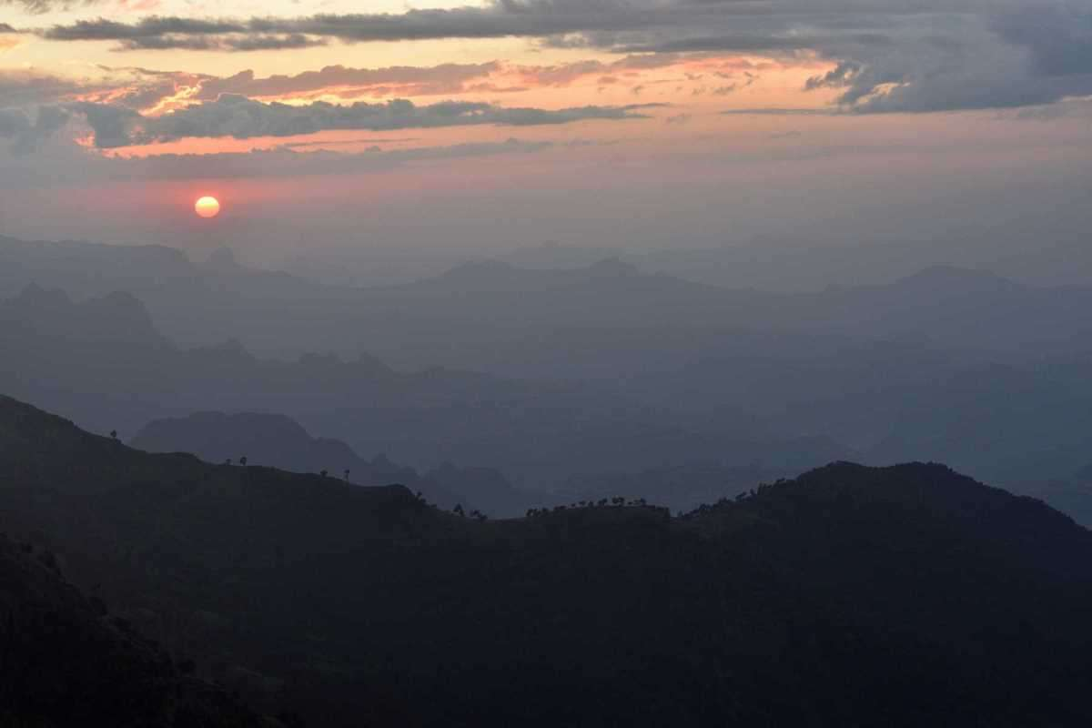 Monti Simien tramonto